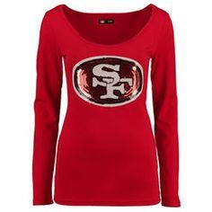 Women's Cuce Scarlet San Francisco 49ers The Underdog Scoop Sequin Logo Long Sleeve T-Shirt