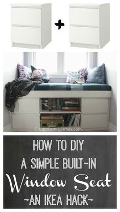 How to DIY a Simple Built-in Window Seat (an IKEA Hack!) Amazing How to DIY a Simple Built-in Window Seat (an IKEA Hack!) How to build a custom window seat from 2 Ikea Malm nightstands. This simple tutorial walks you through these basic DIY steps. An Ikea Ikea Hack, Custom Window Seat, Ikea Malm, Ikea Malm Nightstand, Diy Home Decor, Home Diy, Girls Bedroom, Diy Hanging Shelves, Diy Furniture