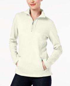 Karen Scott Petite Half-Zip Pullover Top, Created for Macy's - Tan/Beige P/XL