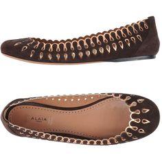 Alaïa Ballet Flats ($1,050) ❤ liked on Polyvore featuring shoes, flats, dark brown, ballet shoes, ballerina shoes, dark brown ballet flats, alaia shoes and ballet pumps