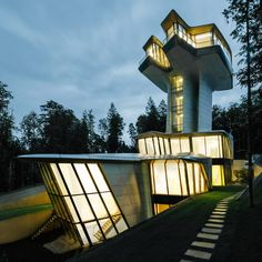 Zaha Hadid's only house rises like a spaceship in a forest near Moscow