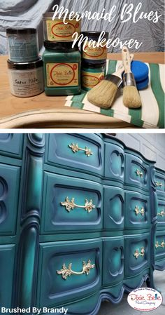 How to Paint a Mermaid Dresser &; Dixie Belle Paint Company How to Paint a Mermaid Dresser &; Dixie Belle Paint Company Nakumy K. nakumyk Möbel Bemalen shabby schick Learn from […] makeover colors Blue Painted Furniture, Chalk Paint Furniture, Funky Furniture, Repurposed Furniture, Furniture Makeover, Furniture Design, Bedroom Furniture, Reclaimed Furniture, Refinished Furniture