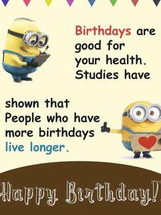 Minion Birthday Wishes, Birthday Jokes, Funny Happy Birthday Wishes, Happy Birthday Friend, Birthday Cards, Minions Funny Images, Minions Quotes, Funny Minion, Minions Minions