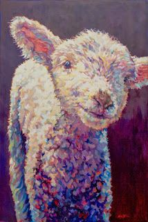 """Daily Painters Abstract Gallery: Colorful Contemporary Lamb Art, Sheep Painting Farm Animal """"Emma"""" by Contemporary Animal Artist Patricia A. Griffin"""