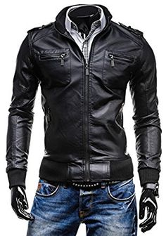 Men's Stand Collar Multi Pocket Slim Fit Leather Jacket Motorcycle Jacket 3280 at Amazon Men's Clothing store: