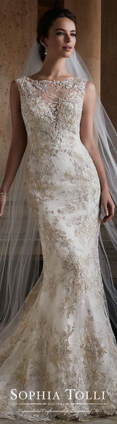 Sophia Tolli Fall 2017 Wedding Gown Collection - Style No. Y21736 Electra- sleeveless lace and tulle fit and flare wedding dress with low scoop back #weddinggowns