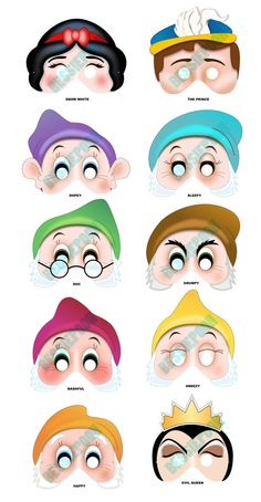 SNOW WHITE Printable MASK Collection. Includes all 10 masks. Photo booth prop. Snow White, Seven Dwarfs, Prince Charming, Evil Queen