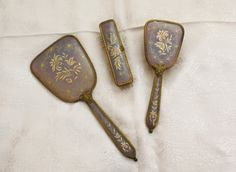 Lilac And Gold Vintage Dressing Table Set by JannesVintage on Etsy, £35.00