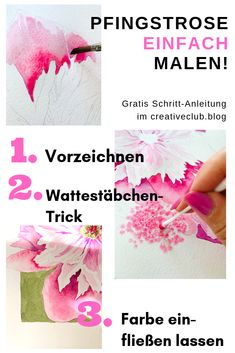 Watercolor peony step by step - Aquarell Malen Watercolor Artist, Watercolor Peony, Watercolour Tutorials, Art Tutorials, Blog, Illustration, Wallpaper, Drawings, Creative