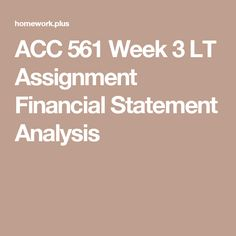 Students Can Easily Get The Financial Statement Analysis