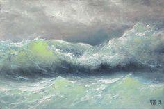 298  Stormy Waves  5x 7 original canvas by vladimirmesheryakov