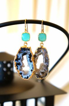 Creamed Agate Geode Earrings  Agate Earrings  by VintagePinch, $48.99 #etsy #musthave #momfashion #teacherfashion #loveit #bridal #weddingblogger #fblogger #fashionblogger #latinablogger #momblogger #handmade #trendy #mystyle #modernmom #boutique