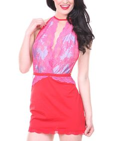 Love this Red & Pink Lace Halter Chemise & Thong - Women & Plus by Popsi on #zulily! #zulilyfinds