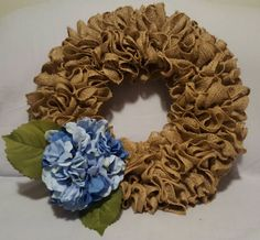 Check out this item in my Etsy shop https://www.etsy.com/listing/502608249/ruffle-burlap-wreath-blue-hydrangea