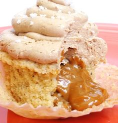 Caramel Filled Triple Vanilla Brown Butter Cupcake (with Salted Caramel Frosting).