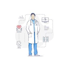 Medical people illustration set Six flat linear vector illustrations of medical personal in uniform. Female and male doctors and nurses for info-graphic design, Medicine Illustration, People Illustration, Character Illustration, Graphic Design Illustration, Black And White Comics, Black And White Lines, Book Hospital, Medical Wallpaper, Drawing Wallpaper