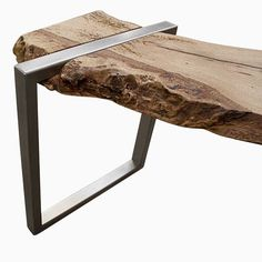 Custom Made Live Edge Oak Slab And Stainless Steel Bench