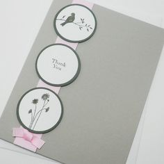 Gris Rose Mariage Vert foncé Merci carte silhouette oiseau fleurit
