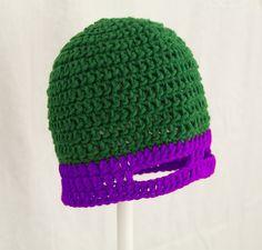 TMNT Mask Hat in Purple, Green Ninja Turtle Beanie, send size | CutieHats - Accessories on ArtFire