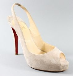 AUTH CHRISTIAN LOUBOUTIN Blush Suede Peep Toe Slingbacks Pumps 39 9 IN BOX at www.ShopLindasStuff.com