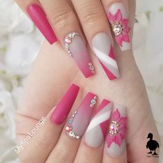 pink nail designs Beautiful nails by my_spa_lounge Ugly Duckling Nails is dedicated to keeping love, support, and positivity flowing in our industry Dope Nails, Bling Nails, Fun Nails, Rhinestone Nails, Best Acrylic Nails, Summer Acrylic Nails, Nail Swag, Classy Nails, Stylish Nails