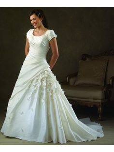 A-Line Scoop Neck Pleated And Flowers Short Sleeve Chapel Trailing White Taffeta Lace Up Back Wedding Gowns