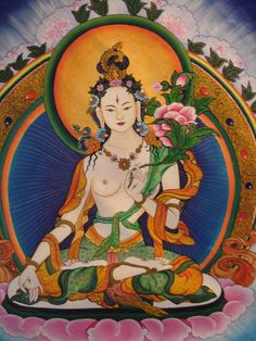 Tārā is a meditation deity worshiped by practitioners of the Tibetan branch of Vajrayana Buddhism to develop certain inner qualities and to understand outer, inner and secret teachings such as karuṇā (compassion), mettā (loving-kindness), and shunyata (emptiness). Tārā may more properly be understood as different aspects of the same quality, as bodhisattvas are often considered metaphors for Buddhist virtues. Buddhist Wisdom, Buddhist Symbols, Buddha Buddhism, Buddha Art, Tibetan Buddhism, Tantra, Tara Verde, Tara Goddess, Tibet Art