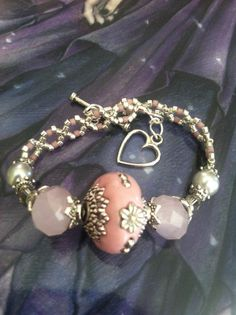 7 Inch Beaded Bracelet  Heart Shaped Toggle by TheBraceletNook, $19.00