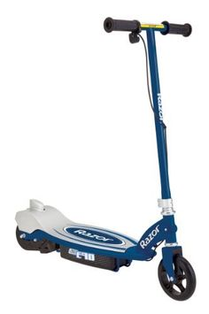 Razor E90 Electric Scooter (Blue, 31 x 14 x 33-Inch) by Razor. $125.99. The Razor E90 Electric Scooter is a zippy 12-volt electric scooter that features an all steel frame, pressure foot brake and a push button throttle thats easy for kids. Hit the throttle and hit speeds up to 9 mph! This awesome scooter is perfect for ages 8+ and with maximum weight of 120 lbs. Choose between orange or blue! Dont miss out on the awesome Razor E90 Electric Scooter!