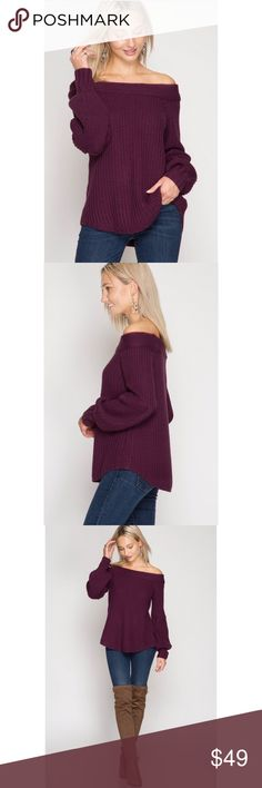 Off Shoulder Sweater Beautiful off shoulder sweater, relaxed fit, thick knit, very warm, gorgeous plum color.  60% acrylic, 40% cotton.  Color: Plum.  True to size.  Size S fits like 2-4 Size M fits like 6-8 Size L fits like 10-12 (closer to 10) She and Sky Sweaters