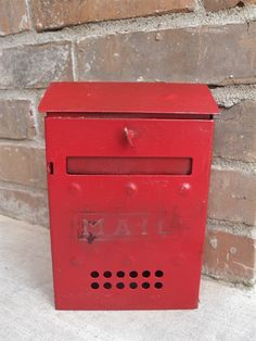 Vintage Red Metal Porch Mailbox - Maybe not the right color, but style is great!