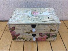 Caja de madera decorada con decapado y decoupage - conideade - YouTube Furniture Board, Decoupage Vintage, Vintage Wood, Clay Crafts, Craft Videos, Design Crafts, Chalk Paint, Diy Tutorial, Whimsical