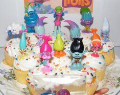 6 Dreamworks Trolls Troll Cupcake Cake by jenuinecraftsandmore