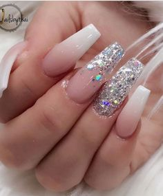 Acrylic Nail Art For More Beautiful Nails Prom Nails, Bling Nails, Glitter Nails, Bling Wedding Nails, Stiletto Nails, Best Acrylic Nails, Acrylic Nail Designs, Holographic Nails Acrylic, White Nail Designs