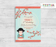Kokeshi invitación / invitación de la ducha del por FestivaParty