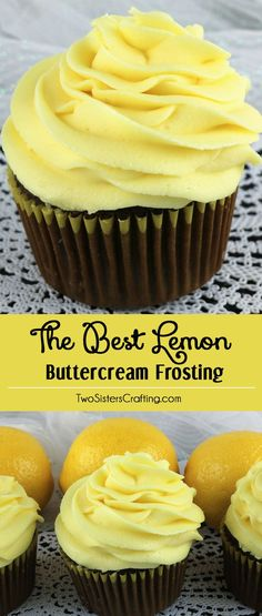 When life gives you lemons, make this delicious Best Lemon Buttercream Frosting. Bright, fresh, creamy and lemony. This is a traditional homemade lemon butter cream frosting that everyone will love. And it is so easy to make. This tasty frosting will mak Lemon Desserts, Lemon Recipes, Sweet Recipes, Baking Recipes, Delicious Desserts, Dessert Recipes, Delicious Cookies, Easy Desserts, Drink Recipes
