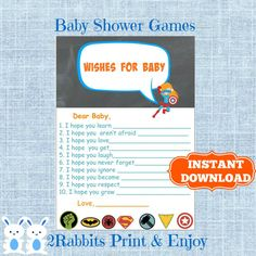 Superhero Well Wishes for a Baby -Wishes for Baby Cards - Baby Shower Wishes -Superhero Baby Shower Games - Instant Download #superherobabyshower #wishesforbaby #babywishes #babyshowergames