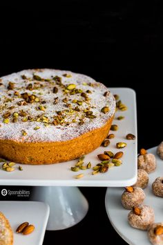 Persian Almond Cardamom Pistachio Cake is a moist and aromatic dessert recipe. Featuring Pure Cottonseed oil from Acala Farms. Available at Spoonabilities.com