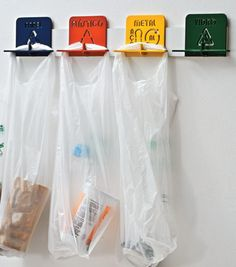 Here's a neat space saving idea for apartment recycling!