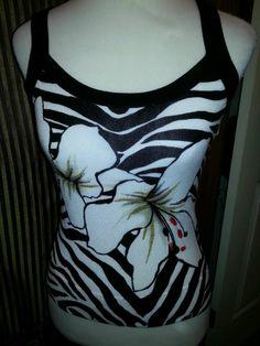 White House Black Market Ladies knit top tank. Black/White/Gold zebra stripe Sz  #WhiteHouseBlackMarket #KnitTop #Casual