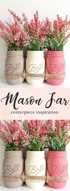 Mason Jar Centerpiece Inspiration {{Casa Rustica Decor}} Love the beautiful #colorcombination of these #farmhouse #masonjars ... Filled with these pretty pink #flowers - this would be quite the #mothersdaygifts :):) #farmhousedecor #mothersdaycrafts
