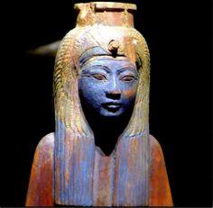 Statuette of the deified Queen Ahmose Nefertari- Blue body?...interesting