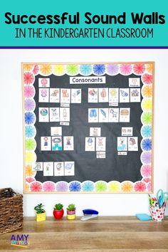 Word Wall Kindergarten, Kindergarten Art Activities, Kindergarten Language Arts, Alphabet Activities, Kindergarten Classroom, Classroom Organization, Classroom Management, Classroom Ideas, Sound Wall