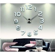 Square Wall Clock Sticker Mirror Wall Clock Self-Adhesive Mural Removable Wall Clock Sticker, Big Wall Clocks, Mirror Wall Clock, Living Room Clocks, Kitchen Wall Clocks, 3d Mirror, Wall Decal, Living Rooms, Wall Clock Frameless