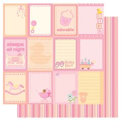Best Creation Inc - Sweet Baby Collection - 12 x 12 Double Sided Glitter Paper - Baby Girl Tags