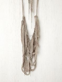 """Free People Dreamweaver Necklace, 99.95 Artfully draped chainlink and sheer chiffon necklace. Ends tie together to wear.  *By Chan Luu  *47"""" total length, 9 1/2"""" drop"""