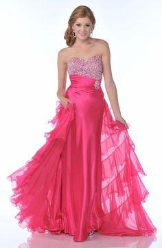 Hot Pink Sequin Prom Dress Strapless Rhinestone Long Chiffon Train