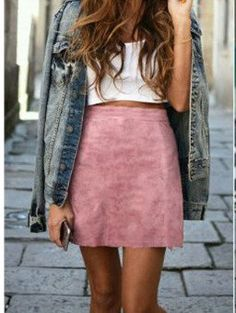 Pink High Waist Suede Leather Skirt - Goodnight Macaroon Casual Outfit Ideas Spring 2017 www.goodnightmacaroon.co