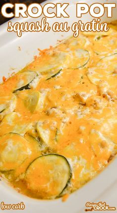 Our Crock Pot Squash Au Gratin is a savory cheesy low carb side dish easy enough for weeknight dinner but also delicious enough for a holiday meal! Our Crock Pot Squash Au Gratin is a savory cheesy low carb side dish easy enough for weekni Crock Pot Recipes, Crockpot Side Dishes, Side Dish Recipes, Slow Cooker Recipes, Low Carb Recipes, Cooking Recipes, Low Fat Crockpot Recipes, Low Carb Side Dishes, Side Dishes Easy