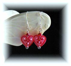 Diva Drops Lampwork Glass Heart Earrings in Ruby by jmjcreations, $13.00